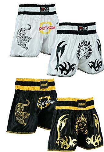 EVO Fitness Muay Thai Shorts MMA Kickboxen Kampfsport Kampfsport Fight Gear (Lion-Schwarz/Weiß, Größe M)