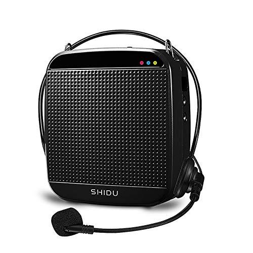Amplificador de voz portátil de 15W, SHIDU amplificador de voz con auriculares con micrófono con cable Micrófono recargable y sistema de altavoces PA para profesores,canto,aula, guía de turismo,yoga