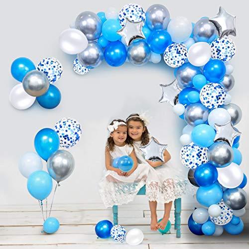 iZoeL 100Stk Blau Silber Luftballon Girlande Kit Konfetti Luftballon + Ballongirlande Streifen für Geburtstag Hochzeit Junggesellenabschied Baby shower Taufe