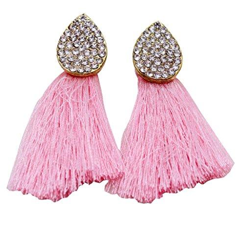 Harilla Pendientes De Borla De Cristal para Mujer Pendientes Largos con Flecos Largos Pendientes Colgantes Bohemios - Rosado