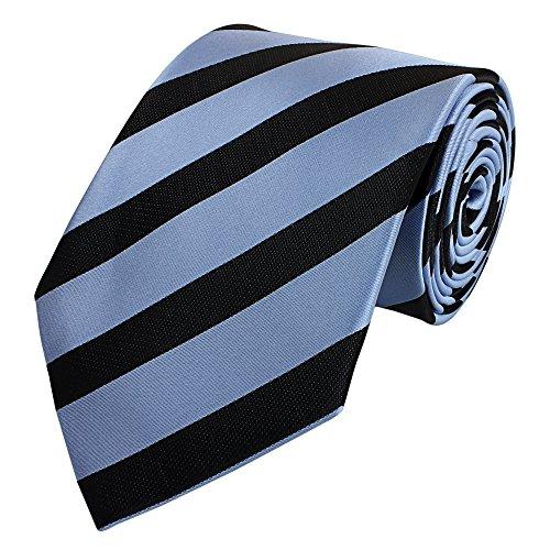 Fabio Farin - Cravate homme 8cm avec de rayures bleu-gris noir