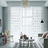 HAOLY Einfache Moderne Gaze,Wohnzimmer vorhänge,Tüll gardinen,Semi verdunklungsvorhänge,Für Schlafzimmer Balkontür 1pcs Weiß 150x270cm(59x106inch)