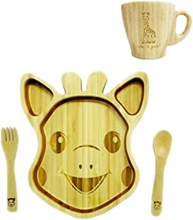 FUNFAM Japanese Bamboo Made Sophie la Girafe (Sophie The Girafe) Face Plate Premium Set SOPHIE-FACE-002