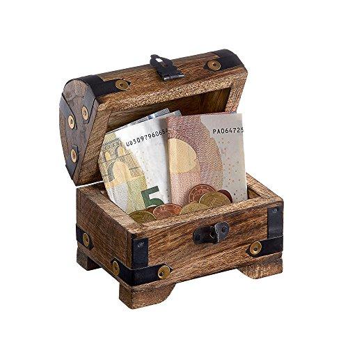 Casa Vivente Holztruhe – Bauernkasse – Schatztruhe – Schmuckkästchen – Spardose – Aufbewahrungsbox aus Holz – Klein – 10 cm x 7 cm x 8,5 cm (Dunkel – Klein) – Verpackung für Geldgeschenke - 2