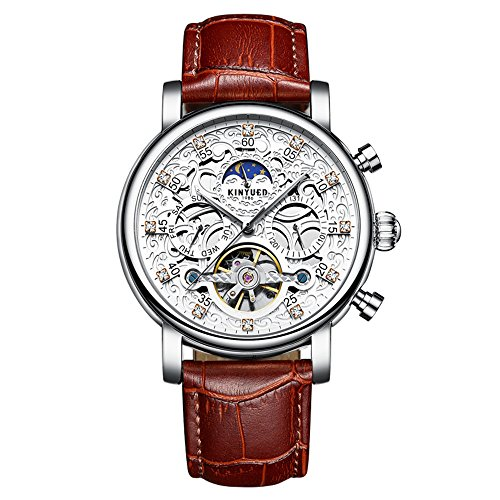 Swiss Tourbillon Skeleton Automatic Watch for Men's Multi-Function Mechanical Leather Band Watch (White Silver Brown)