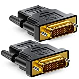 deleyCON 2X Adaptador HDMI a DVI - HDMI Hembra a Conector DVI (24+1) Full HD 1080p para Monitores PC o Proyectores - Negro