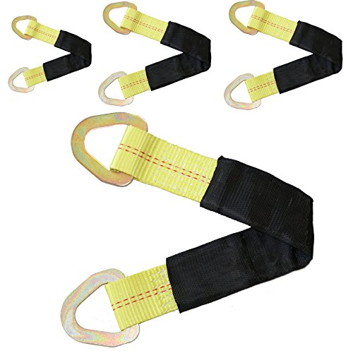 """DKG-400 2"""" X 18"""" Tie Down Tow Axle Strap with D Ring – Pack of 4 Cargo Torsion Axle Straps – Extra Sleeve Cushioning – High Tension Proof & Heavy-Duty Design (4 Pack)"""