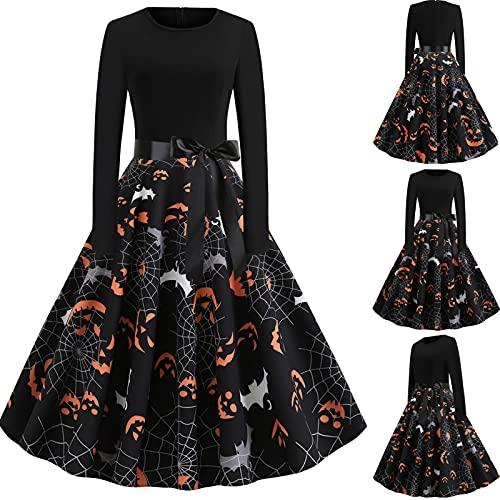 YONGYONG Vestido de cctel para mujer con estampado digital de Halloween, manga larga, costura de una lnea de cuello en O, negro, X-Large