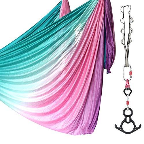 SAIVEN 10m Aerial Silks Equipment Yoga Set, Yoga Swing for Aerial Hammock Silk, Aerial Dance Equipment, Yoga Starter Kit(L: 10m x W: 2.8m) (Gradient Pink)