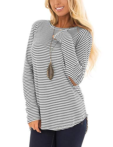 Blooming Jelly Womens Long Sleeve T Shirts Striped Crew Neck Elbow Patch Casual Tee Tops(M,Striped)