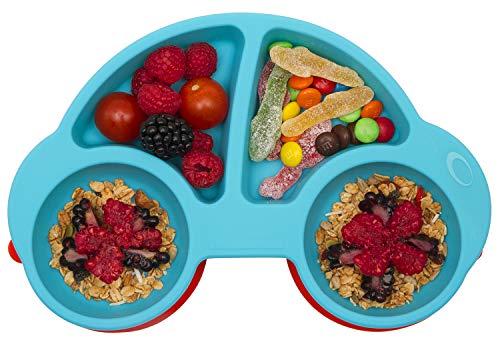 Baby Teller Schüssel Mini Silikon Tischset für Baby Kleinkinder und Kinder Tragbar Teller Baby Rutschfest Babyteller Tischset Abwaschbar für Spülmaschine, Mikrowelle (Neues Auto Blau)