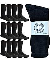 Yacht & Smith 12 Pairs Mens Cotton Crew Socks, Solid, Athletic Sports Socks, Valuepack (Black)