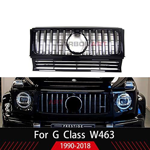 REAMIC Carbonart W463 GT Rejilla Apta para Mercedes Clase G G500 G55 G63 1991-2016 GT Estilo Rejilla W463 Accesorios Cromo Negro Brillante