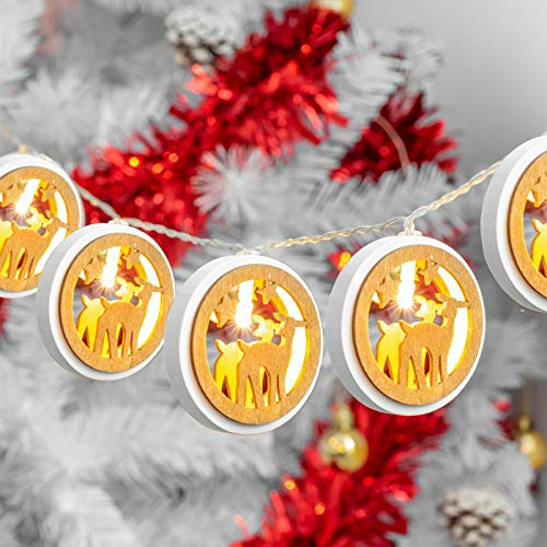 SA PRODUCTS Wooden Reindeer String Lights – 10 LED Christmas Reindeer Figurines – Ultimate Xmas Decoration – Perfect Battery Operated Fairy Light – Versatile and Durable – Best Used in Indoors