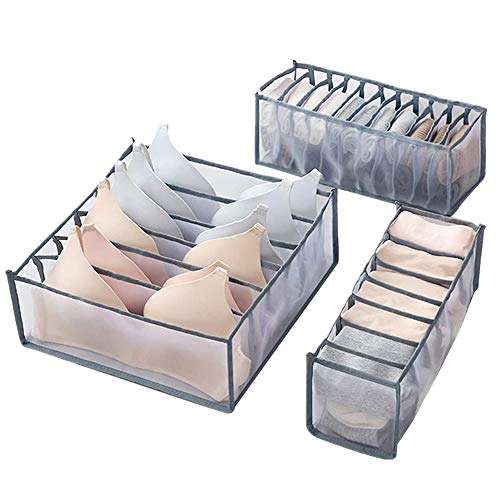 Xnuoyo Schubladen-Organizer, Faltbarer Schrank-Schubladen-Teiler, Unterwäsche-Schubladen-Organizer, Schrank-Schubladen-Teiler Aufbewahrung für BHs, Dessous, Slips, Socken, Krawatten(Grau)