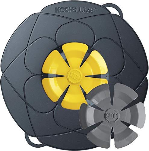 Kochblume vom Erfinder Armin Harecker L 29 cm anthrazit/gelb | Überkochschutz für Topfgrößen von Ø14 bis 24cm | Set mit Wechselblüte + Microfasertuch