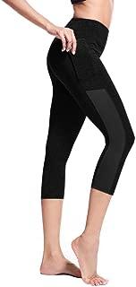 ZhixiaYS Women's Side Pocket Yoga Pants Stitching Tight Running Sport Pant Stretch Seven-Point Yoga Pants