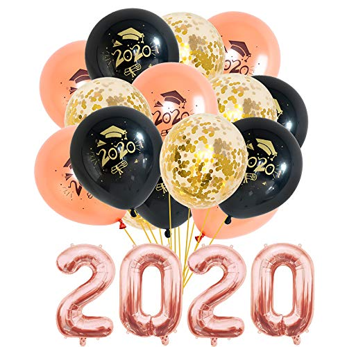 2020 Graduation Party Supplies Decorations Balloons 34 Pcs Rose Gold Foil Balloon Black Thicker Gold Confetti Latex Balloons Kit for University College School Decor