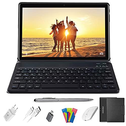 Tablet 10.1 Pulgadas, Android 10.0 - Ultrar-Rápido Tableta, 4GB RAM+64/128GB ROM, Quad-Core Tablet Baratas y Buenas, 4G LTE, WiFi, GPS, 8000mAh, Netfilix-Certificación Google GMS (Negro)