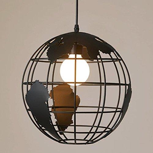 Retro Industrial Pendelleuchte Esszimmer Wohnzimmer Bar Café Ceiling Leuchter Lampe Welt Globus Hängeleuchte Lighting Minimalistische Vintage Pendellampe Iron Edison-Lampe Ø28cm