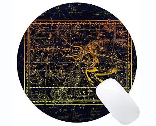Rutschfeste Gummi Gaming Runde Mausunterlage, Constellation Constellation Zodiac Sky-Themen der runden Mausunterlage mit genähtem Rand