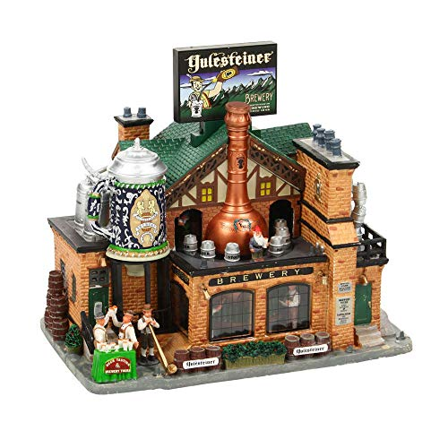 Lemax 05073 Yulesteiner Brewery, Caddington Village Sights & Sounds Collection, Porcelain Miniature Building & Figurines, X'mas Decor/Gift/Collectible, Volume Control/Power Switch, 10.63'x12.01'x7.24'