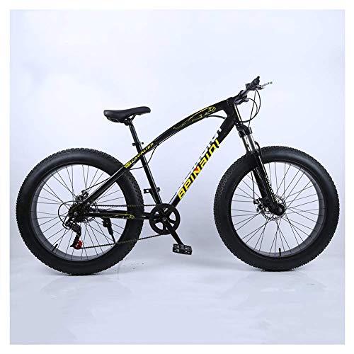 NENGGE Hard Tail Bicicleta Montaña 26 Pulgadas para Adulto Hombre Mujer, Profesional Freno Disco Bicicleta BTT con Suspensión Delantera, Marco Acero de Alto Carbono MTB,Negro,7 Speed
