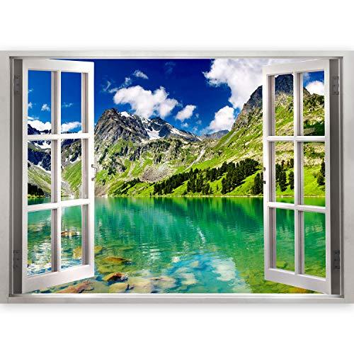 murando 3D WANDILLUSION Wandbild Landschaft See Fototapete Poster XXL Fensterblick Vlies Leinwand Panorama Bilder Dekoration Natur Berge Bäume Himmel 140x100 cm c-B-0206-c-a