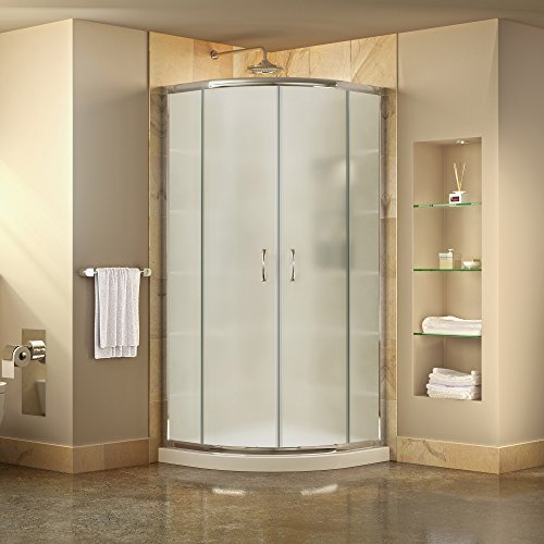 DreamLine Prime 38 in. D x 38 in. W Kit, with Corner Sliding Shower Enclosure in Chrome and White Acrylic Base