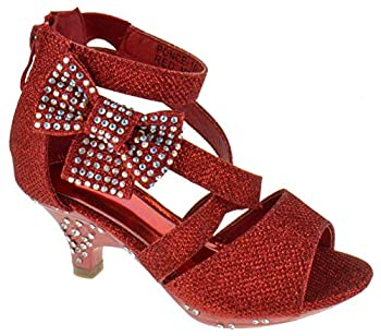 Belle Marie Ponce 10 Little Girls Glitter Rhinestone Heeled Dress Sandals Red 1