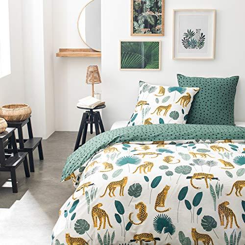 Today Bettwäsche für Doppelbett, 240 x 260 cm, Baumwolle, Bedruckt, Weiß, Jungle Sunshine 3,34