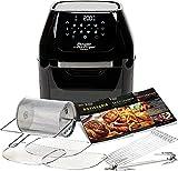 LIUTAO Cocina - Freidora con Chip Horno portátil Sin Aceite Aire Caliente Salud Freidora Rotativa Asador y deshidratador (1800W) Negro