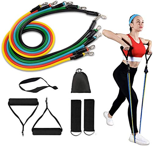 Eayon Hair Resistance Band Sets 11pcs Home Exercise Fitness Door Anchor with Handles Exercise Bands Legs Ankle Straps for Men And Women Training, Physical Therapy, Home Workouts, Indoor Fitness,Yoga