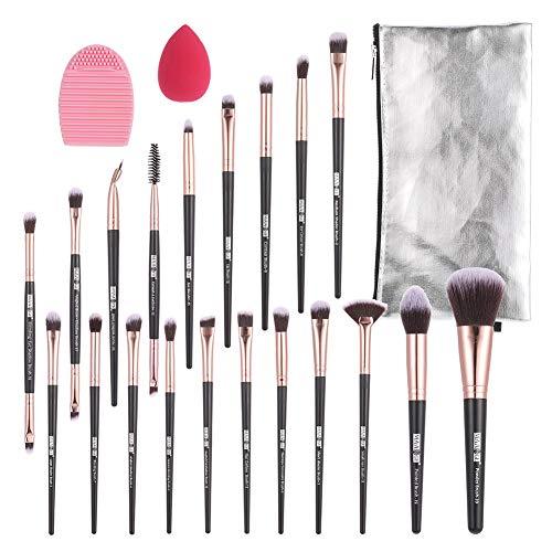Yorgewd - Juego de 20 brochas de maquillaje sintéticas profesionales para base, polvo, crema BB, delineador de ojos, corrector (oro rosa)