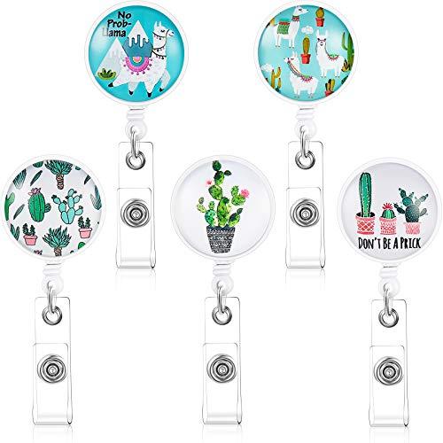 5 Pieces Cactus Llama Retractable Badge Reel Holder with Alligator Clip ID Name Badge Reel Clip on Card Holders for Nurse, Teacher, Student, Volunteer