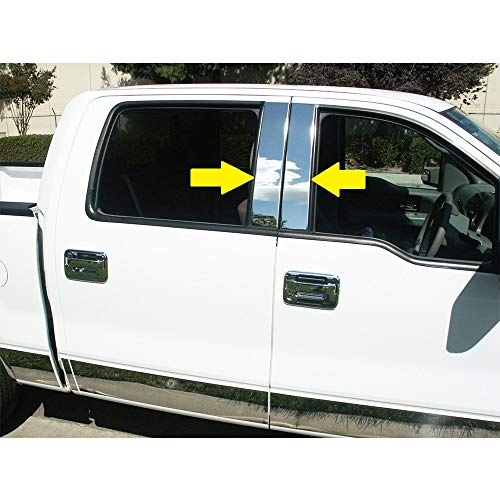 Sizver Polished Stainless Steel Pillar Posts Accent Covers for 2004-2014 F-150...