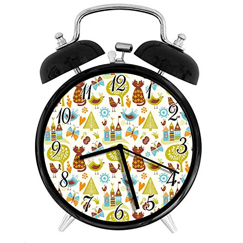 22yiihannz Cats 3.8-inch Silent Night Light Alarm Clock,Cats Birds and Butterflies with Ornate Details Fantasy Castle Trees Hes,The Best Gift Choice for a Friend or Family