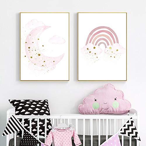 Cartel simple para niños bebé jardín de infantes pintura de pared niños lienzo pintura impresiones niñas dormitorio decoración de la pared 23.6 'x31.5' X2 / 60x80cm Sin marco