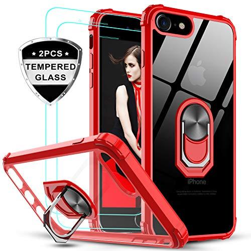 LeYi Funda iPhone SE 2020,iPhone 7/8 con [2-Unidades] Cristal Vidrio Templado,Transparente Carcasa con 360 Grados iman Soporte Silicona Bumper Antigolpes Armor Case para Movil SE 2,Clear Rojo