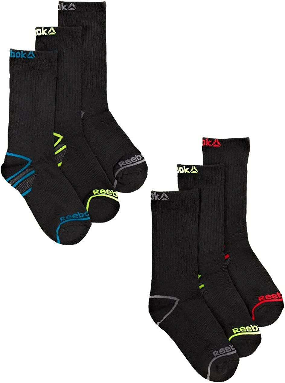 Reebok Boys Socks, 5 Pack Crew Socks Sizes S-L,