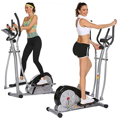 Aceshin Elliptical Machine Magnetic Elliptical Training Machine for Home Use Elliptical Training Machines with LCD Monitor and Smooth Quiet Driven Pulse Rate Grips