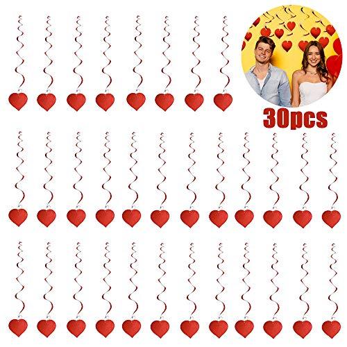 30 Pezzi Decorazioni Pendenti a Spirale Cuore Rosso di San Valentino, San Valentino Appendere Decorazioni per Soffitto e Finestre, Ornamenti Cuore per Matrimonio, Compleanno, Articoli per Feste