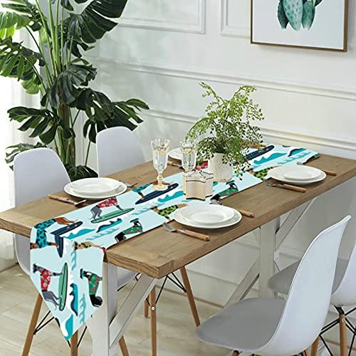 Reebos Camino de mesa de lino para aparador, pañuelos, galgo, azul hawaiano, camino de mesa de cocina, para cenas de granja, fiestas de vacaciones, bodas, eventos, decoración, 33 x 70 pulgadas