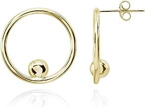 Sterling Silver Polished Open Circle Beaded Frontal Hoop Stud Earrings