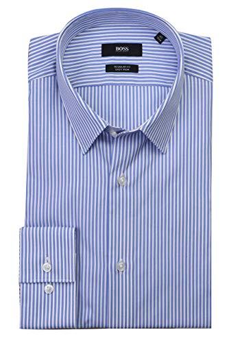 BOSS Regular Fit Hemd Eliott extra Langer Arm Baumwolle Streifen blau Größe 41