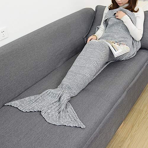 ZHUNAYIYI Manta De Cola De Sirena Manta De Sirena De Ganchillo para Adultos Súper Suave Todas Las Estaciones Mantas De Punto para Dormir (Color : Gray, tamaño : 180x90cm Adults)