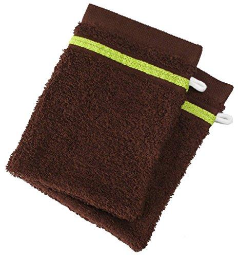 Set da 2 guanti - Spugna 100% Coton - 550 Grs/m2 Cioccolato Con Bordo Verde Anis