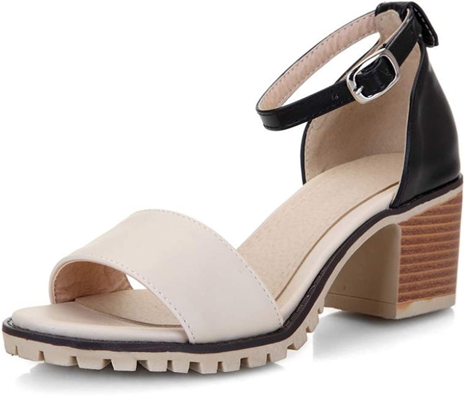 T-JULY Women Sandals Spring Summer Classic BuckleStrap Fashion Splice color Med Heels shoes