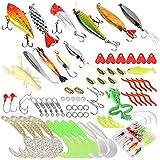 Jinlaili Kits de Señuelos Pesca, 78 Pz Cebos Artificiales de Pesca, Anzuelo de Pesca, Incluye Giratorios, Anzuelos Triples, Señuelos Blando, Pesca Accesorios para Pesca de Agua Dulce en Mar