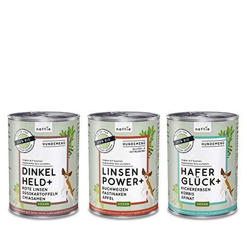 naftie veganes Hundefutter Mixpaket | Bio Nassfutter vegan für Hunde | Menü Spar-Paket mit 3 Sorten | rein pflanzliche Zutaten | purinarm | Diät-Futter | 3 x 400 g Dosen